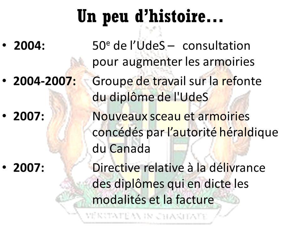 Un peu dhistoire… 2004: 50 e de lUdeS –consultation pour augmenter les armoiries 2004-2007: Groupe de travail sur la refonte du diplôme de l'UdeS 2007