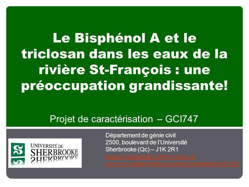 Le Bisphénol A et le triclosan dans les eaux de la rivière St-François : une préoccupation grandissante! Projet de caractérisation – GCI747 Départemen