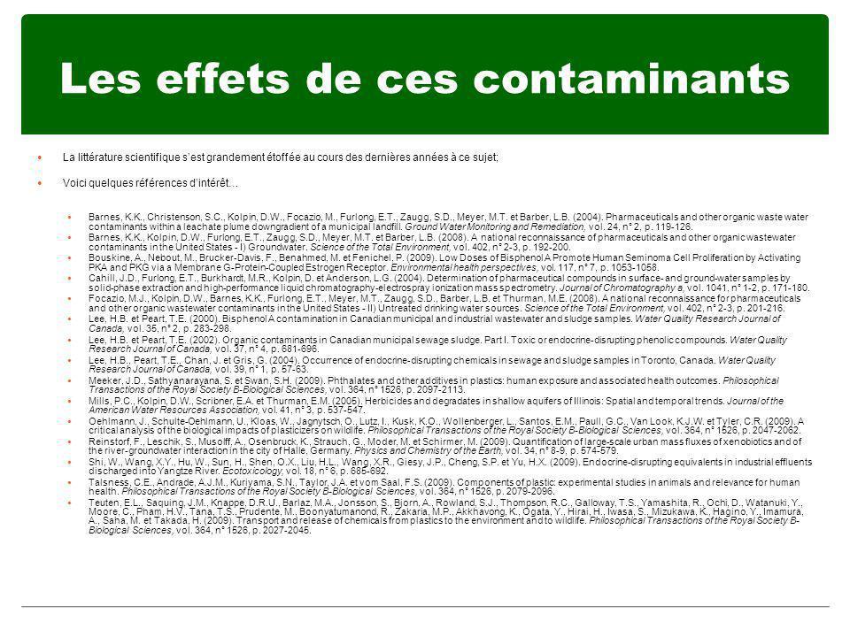 Les effets de ces contaminants La littérature scientifique sest grandement étoffée au cours des dernières années à ce sujet; Voici quelques références