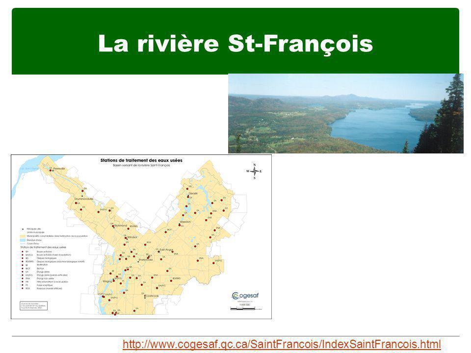 La rivière St-François http://www.cogesaf.qc.ca/SaintFrancois/IndexSaintFrancois.html