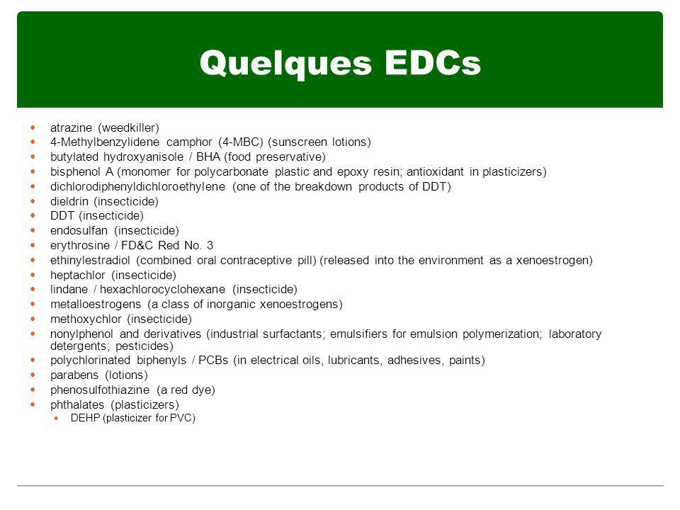 Quelques EDCs atrazine (weedkiller) 4-Methylbenzylidene camphor (4-MBC) (sunscreen lotions) butylated hydroxyanisole / BHA (food preservative) bisphen