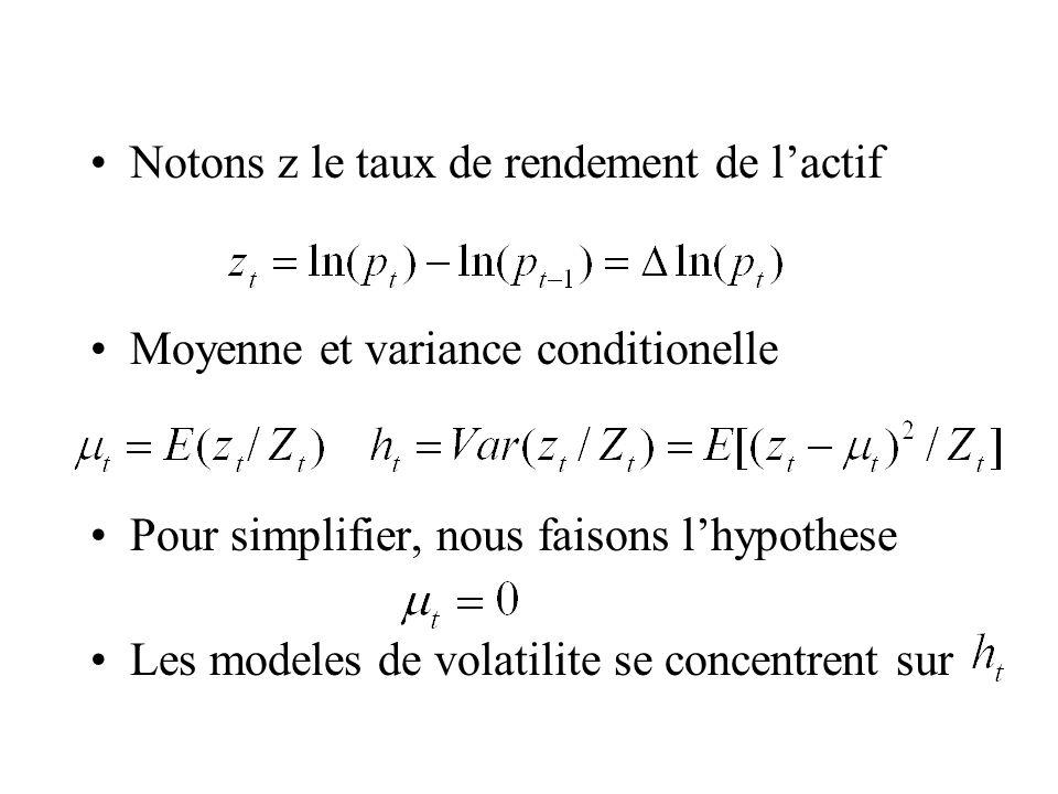 Notons z le taux de rendement de lactif Moyenne et variance conditionelle Pour simplifier, nous faisons lhypothese Les modeles de volatilite se concen