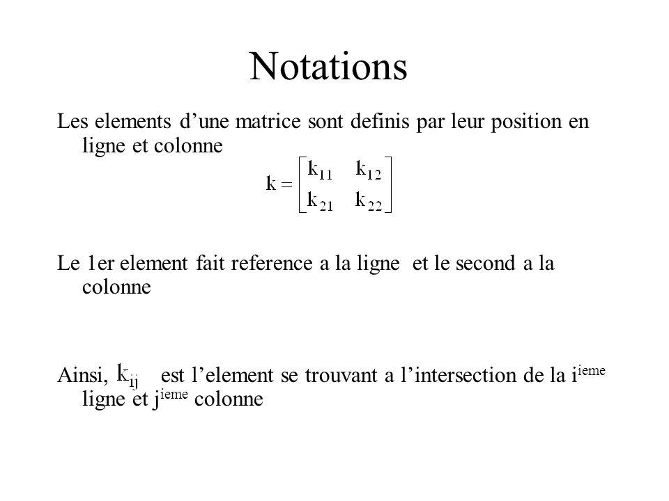 Notations Les elements dune matrice sont definis par leur position en ligne et colonne Le 1er element fait reference a la ligne et le second a la colo