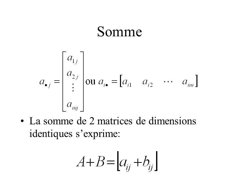 Somme La somme de 2 matrices de dimensions identiques sexprime: