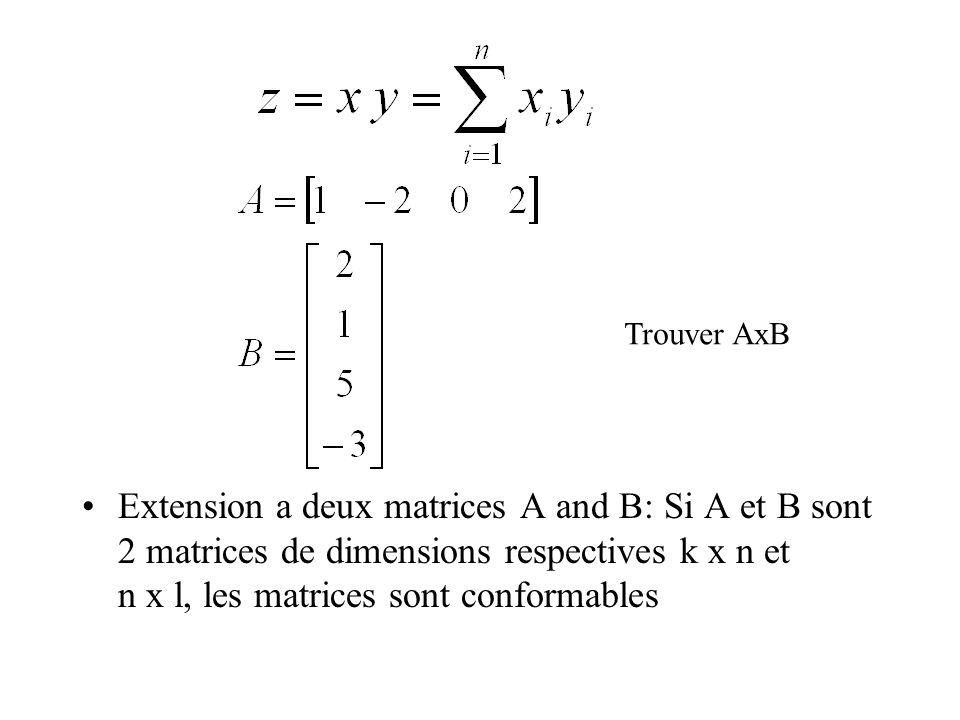 Extension a deux matrices A and B: Si A et B sont 2 matrices de dimensions respectives k x n et n x l, les matrices sont conformables Trouver AxB