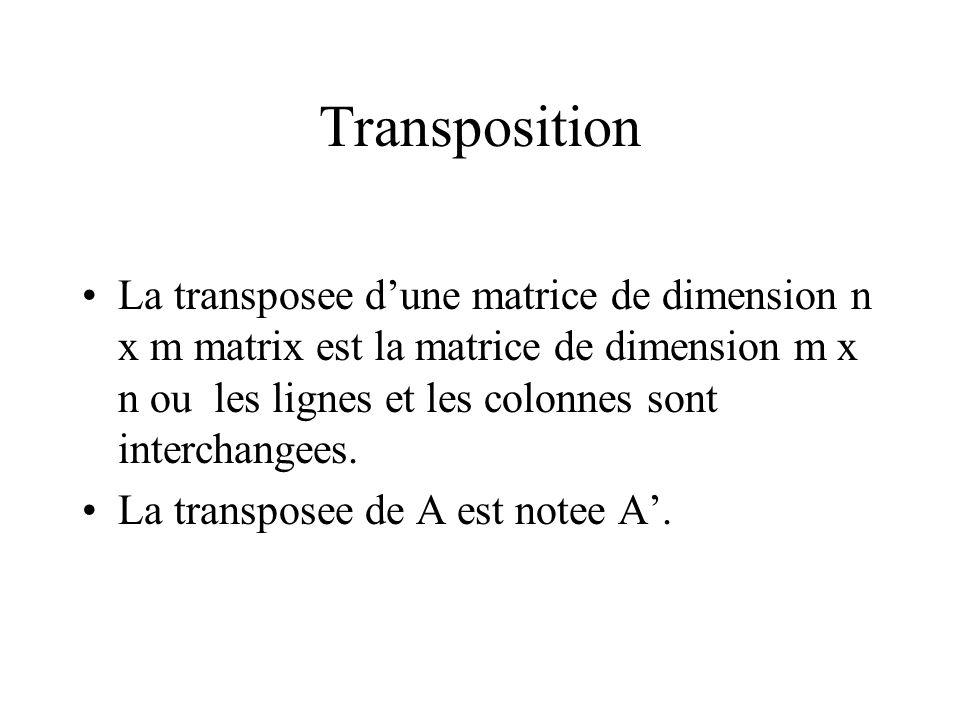 Transposition La transposee dune matrice de dimension n x m matrix est la matrice de dimension m x n ou les lignes et les colonnes sont interchangees.