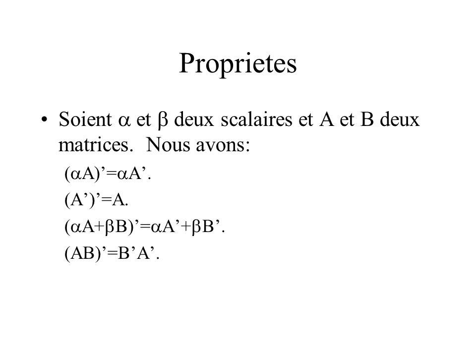 Proprietes Soient et deux scalaires et A et B deux matrices. Nous avons: ( A)= A. ( A+ B)= A+ B. (AB)=BA.