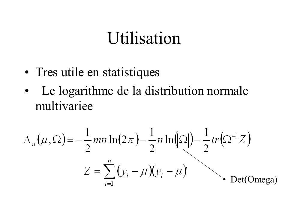 Utilisation Tres utile en statistiques Le logarithme de la distribution normale multivariee Det(Omega)