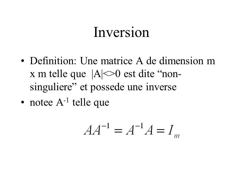 Inversion Definition: Une matrice A de dimension m x m telle que |A|<>0 est dite non- singuliere et possede une inverse notee A -1 telle que