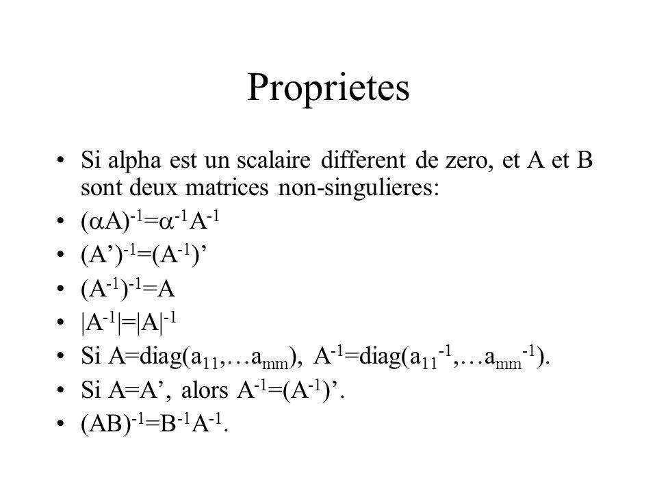 Proprietes Si alpha est un scalaire different de zero, et A et B sont deux matrices non-singulieres: ( A) -1 = -1 A -1 (A) -1 =(A -1 ) (A -1 ) -1 =A |