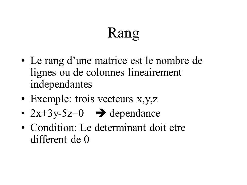 Rang Le rang dune matrice est le nombre de lignes ou de colonnes lineairement independantes Exemple: trois vecteurs x,y,z 2x+3y-5z=0 dependance Condit