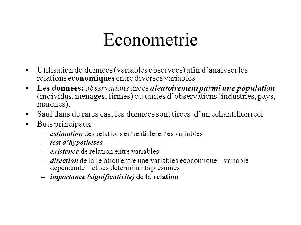 Econometrie Utilisation de donnees (variables observees) afin danalyser les relations economiques entre diverses variables Les donnees: observations t
