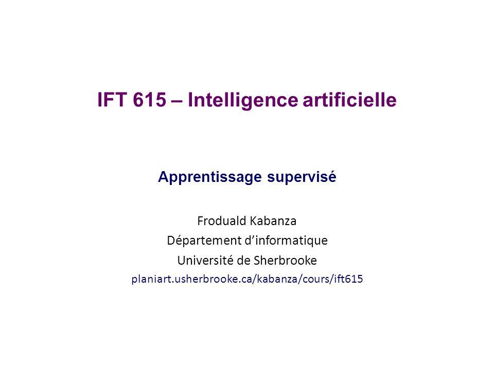 Surface de séparation IFT615Froduald Kabanza32 Le Perceptron cherche donc un séparateur linéaire entre les deux classes La surface de décision dun classifieur est la surface (dans le cas du perceptron en 2D, une droite) qui sépare les deux régions classifiées dans les deux classes différentes surface de décision