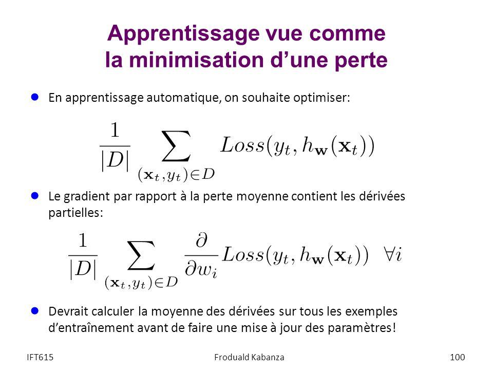 Apprentissage vue comme la minimisation dune perte IFT615Froduald Kabanza100 En apprentissage automatique, on souhaite optimiser: Le gradient par rapp