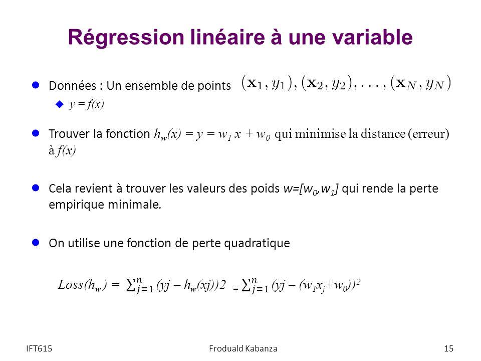 Régression linéaire à une variable 15IFT615Froduald Kabanza