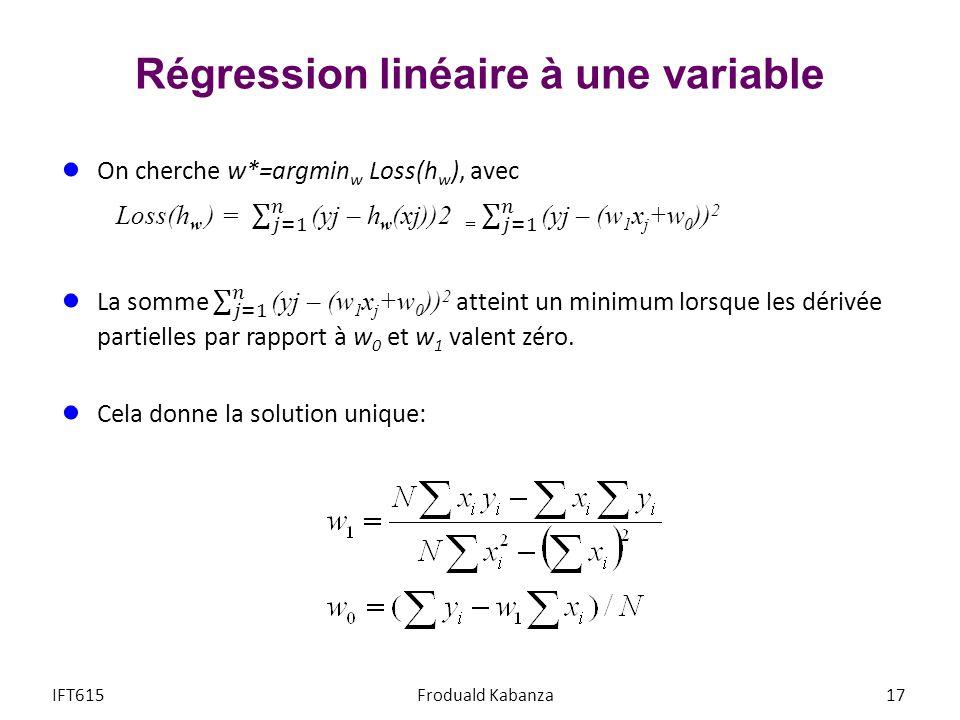 Régression linéaire à une variable 17IFT615Froduald Kabanza