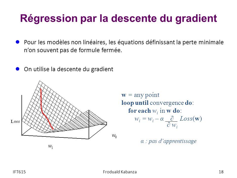 Régression par la descente du gradient Pour les modèles non linéaires, les équations définissant la perte minimale non souvent pas de formule fermée.