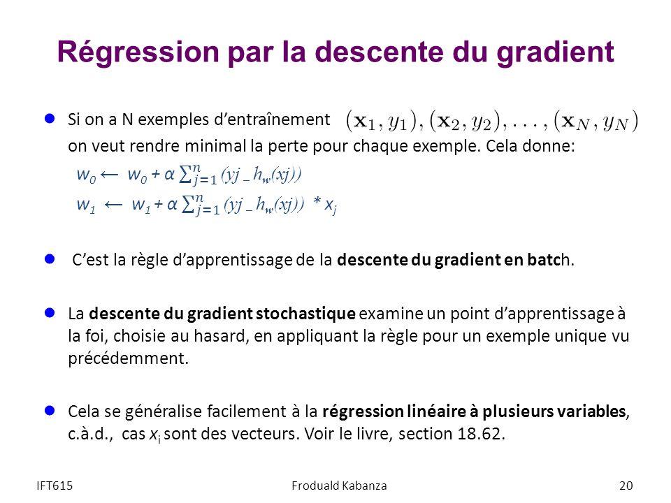 Régression par la descente du gradient 20IFT615Froduald Kabanza