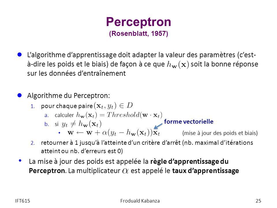 Perceptron (Rosenblatt, 1957) IFT615Froduald Kabanza25 Lalgorithme dapprentissage doit adapter la valeur des paramètres (cest- à-dire les poids et le