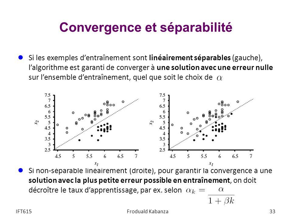 Convergence et séparabilité IFT615Froduald Kabanza33 Si les exemples dentraînement sont linéairement séparables (gauche), lalgorithme est garanti de c