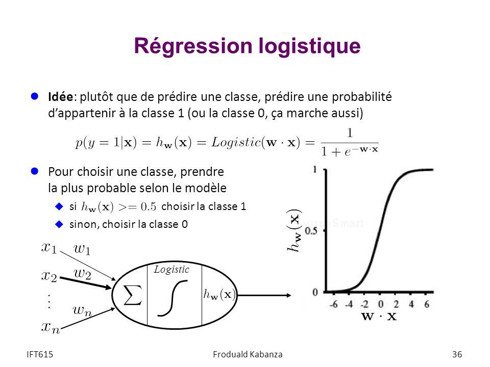 Régression logistique IFT615Froduald Kabanza36 Idée: plutôt que de prédire une classe, prédire une probabilité dappartenir à la classe 1 (ou la classe