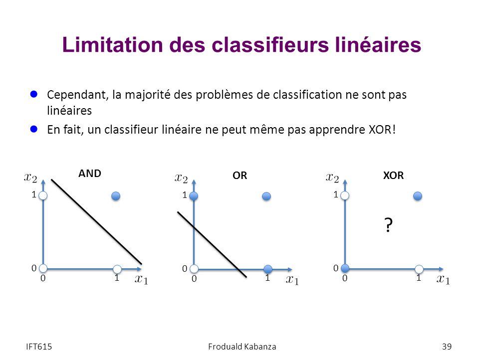 Limitation des classifieurs linéaires IFT615Froduald Kabanza39 Cependant, la majorité des problèmes de classification ne sont pas linéaires En fait, u