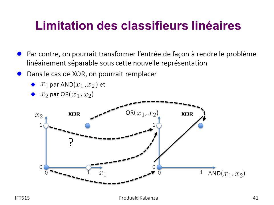 Limitation des classifieurs linéaires IFT615Froduald Kabanza41 Par contre, on pourrait transformer lentrée de façon à rendre le problème linéairement