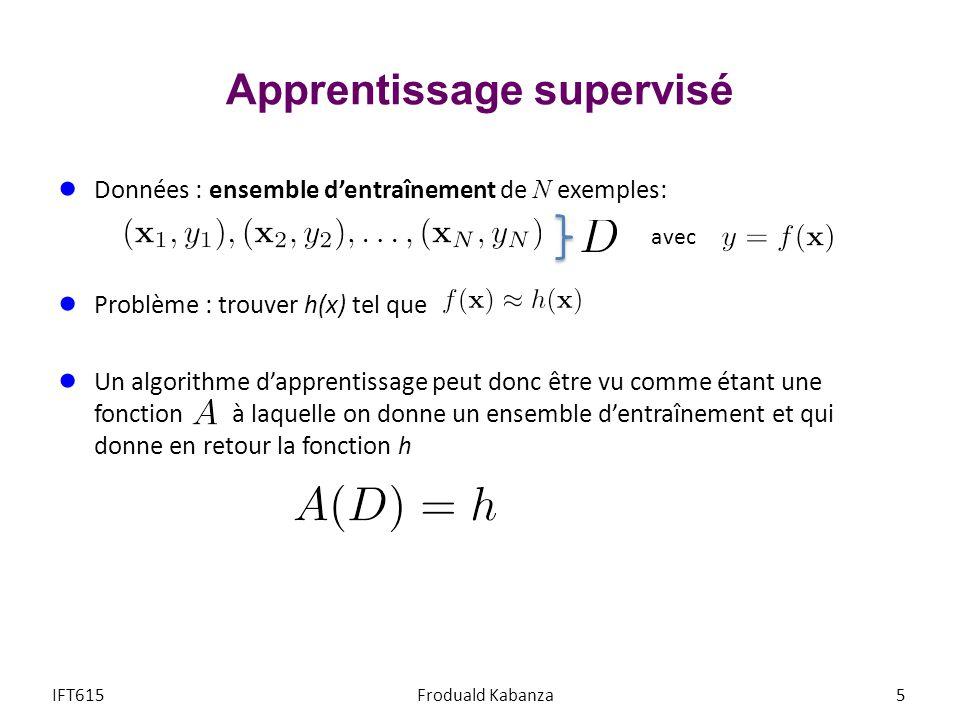 Données : ensemble dentraînement de N exemples: Problème : trouver h(x) tel que Lapprentissage est un problème de recherche de lhypothèse h dans un espace dhypothèses H, tel que h minimise la distancée espérée à f(x) Le problème dapprentissage est réalisable si f(x) H Apprentissage supervisé IFT615Froduald Kabanza6 avec Espace dhypothèse f(x) h opt (x) H Error