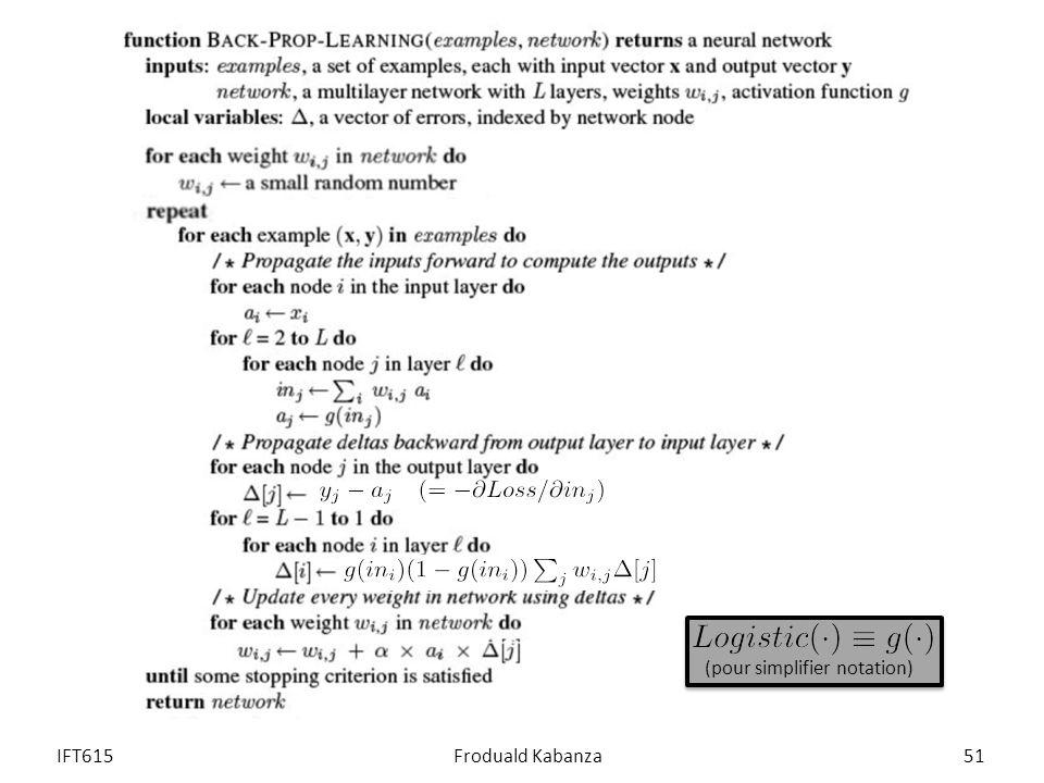IFT615Froduald Kabanza51 (pour simplifier notation)