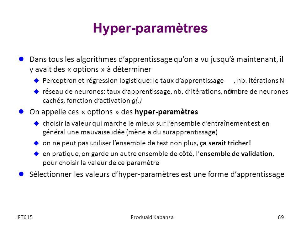 Hyper-paramètres IFT615Froduald Kabanza69 Dans tous les algorithmes dapprentissage quon a vu jusquà maintenant, il y avait des « options » à détermine
