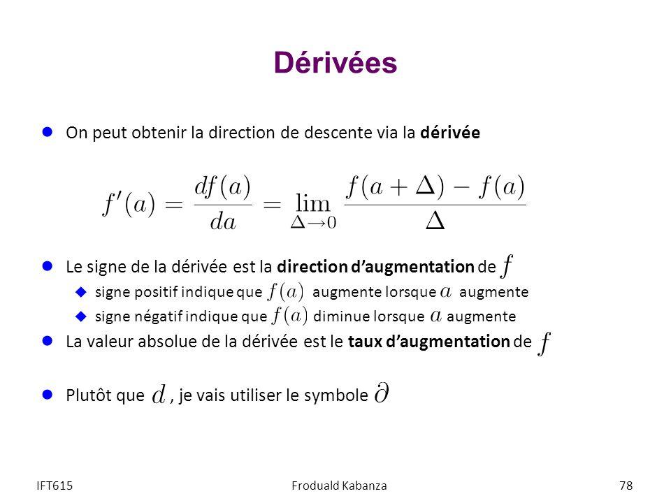 Dérivées On peut obtenir la direction de descente via la dérivée Le signe de la dérivée est la direction daugmentation de signe positif indique que au