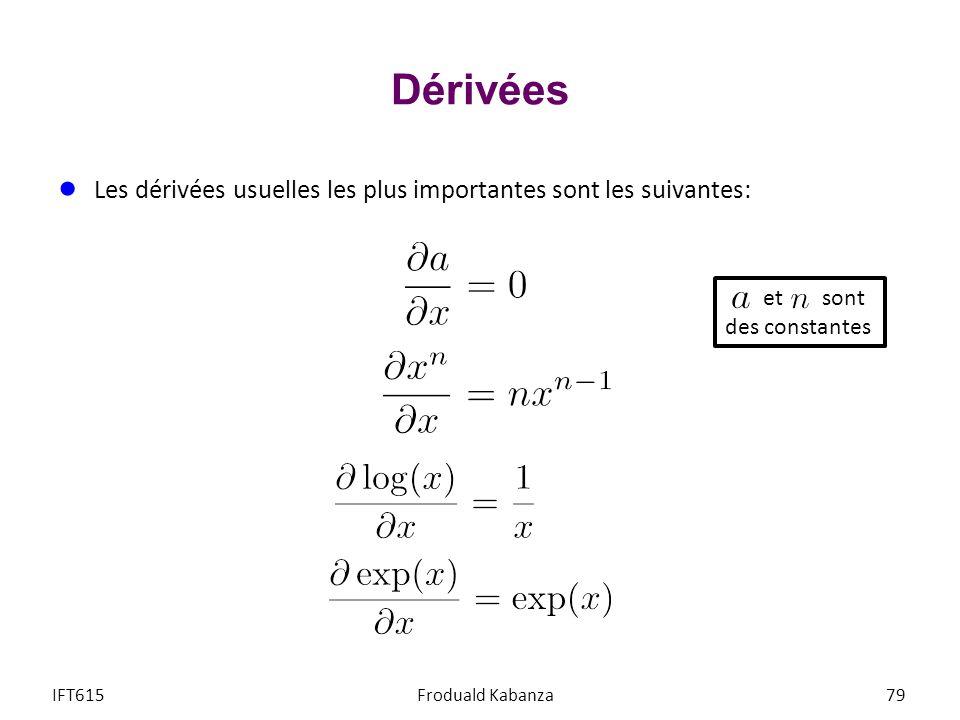 Dérivées Les dérivées usuelles les plus importantes sont les suivantes: IFT615Froduald Kabanza79 et sont des constantes