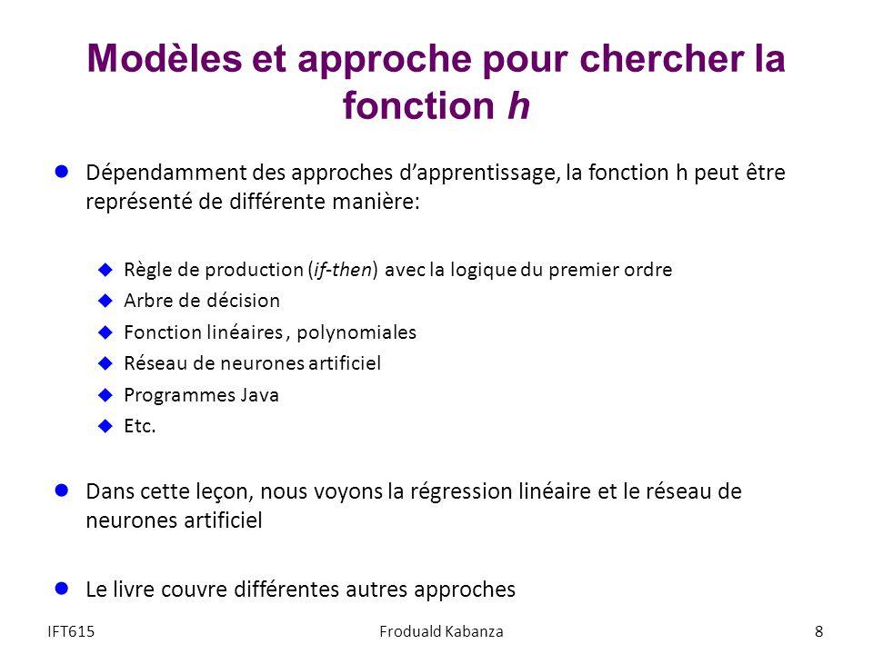 Dépendamment des approches dapprentissage, la fonction h peut être représenté de différente manière: Règle de production (if-then) avec la logique du