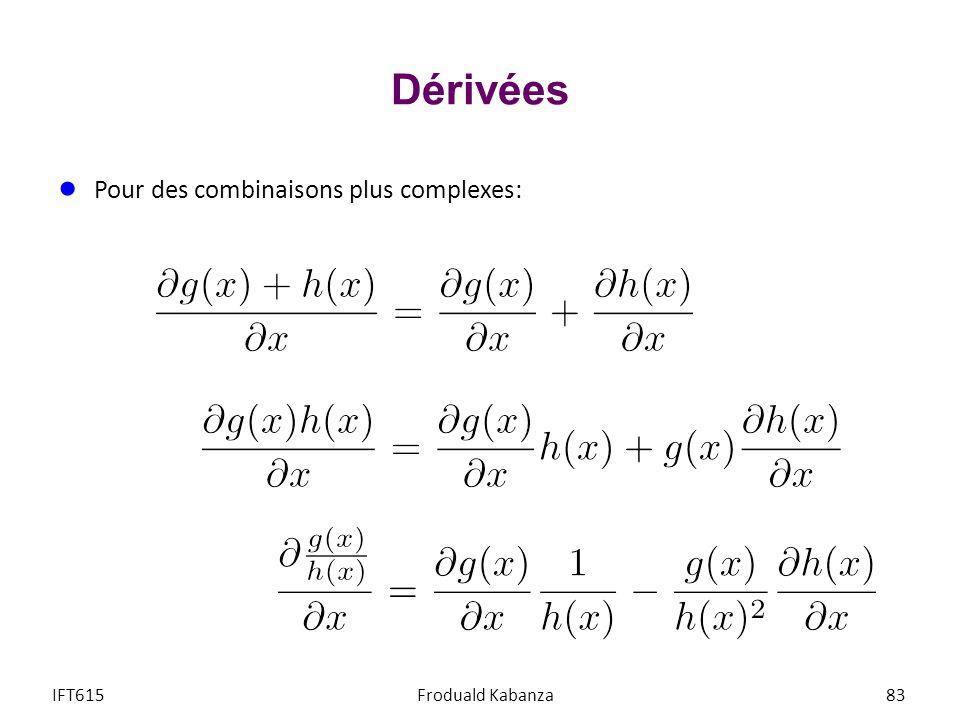 Dérivées Pour des combinaisons plus complexes: IFT615Froduald Kabanza83