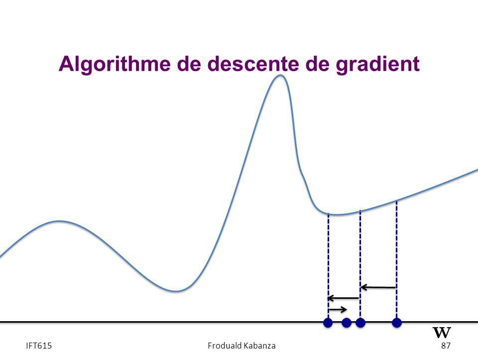 IFT615Froduald Kabanza87 Algorithme de descente de gradient