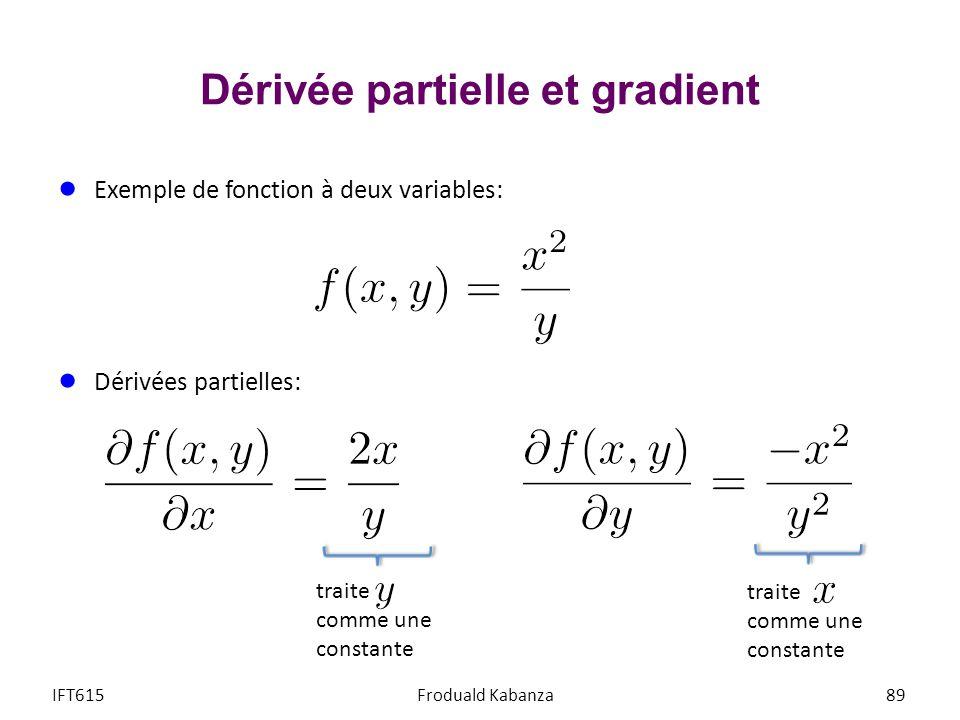 Dérivée partielle et gradient Exemple de fonction à deux variables: Dérivées partielles: IFT615Froduald Kabanza89 traite comme une constante traite co