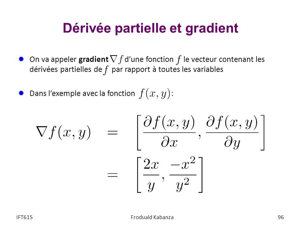 Dérivée partielle et gradient On va appeler gradient dune fonction le vecteur contenant les dérivées partielles de par rapport à toutes les variables