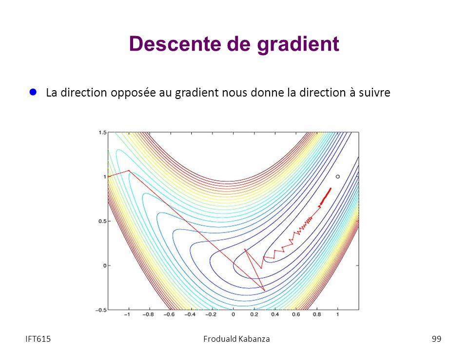 Descente de gradient La direction opposée au gradient nous donne la direction à suivre IFT615Froduald Kabanza99
