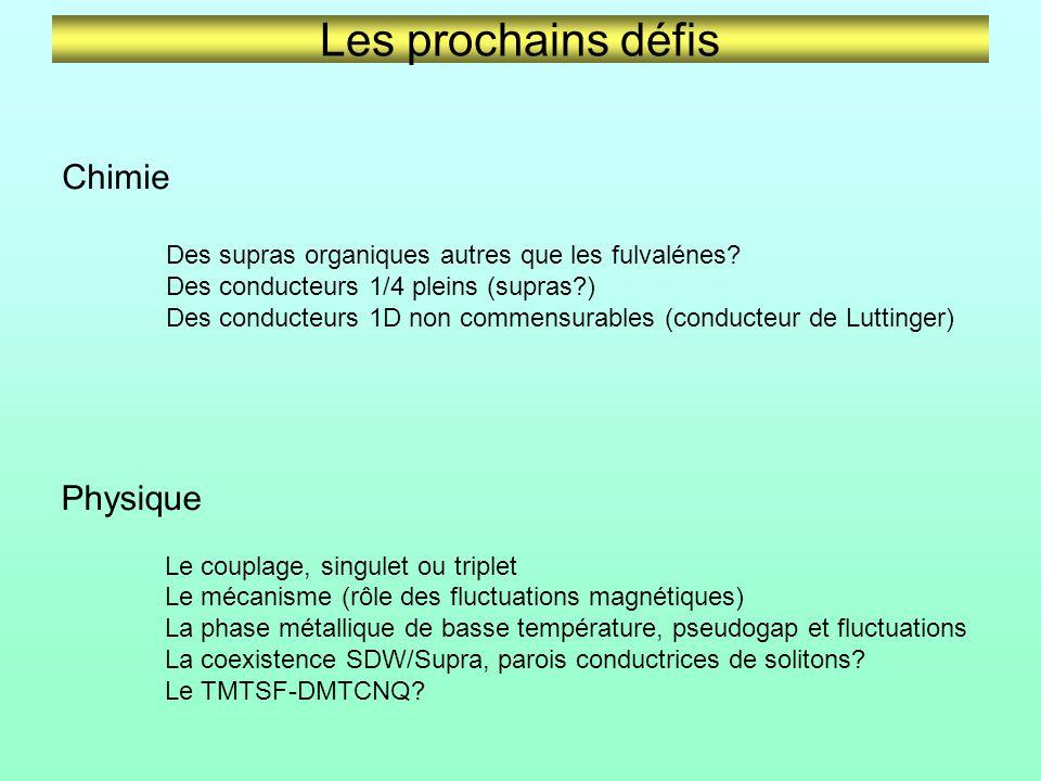 Les prochains défis Chimie Des supras organiques autres que les fulvalénes.