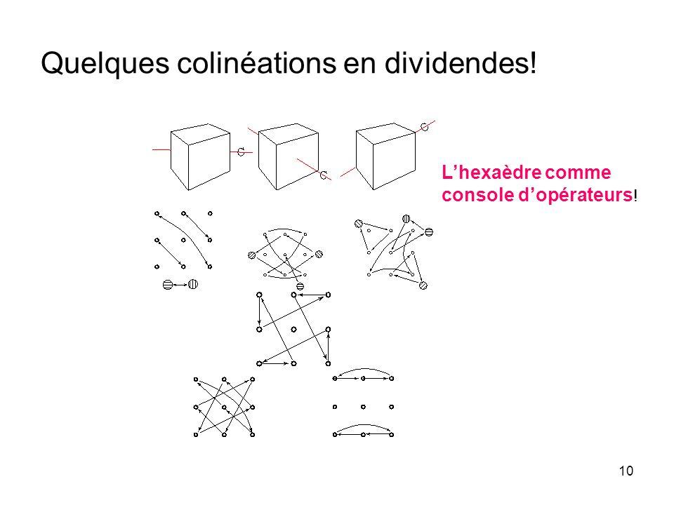 10 Quelques colinéations en dividendes! Lhexaèdre comme console dopérateurs !