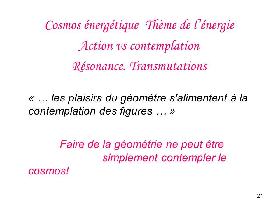 21 Cosmos énergétique Thème de lénergie Action vs contemplation Résonance.