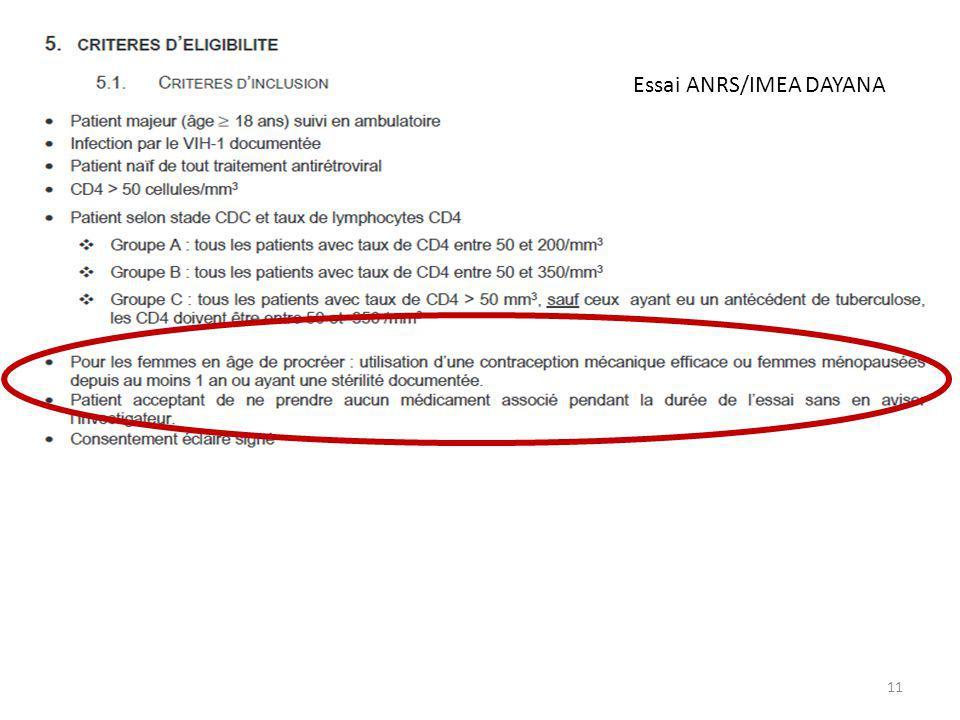 07/03/2011 11 Essai ANRS/IMEA DAYANA