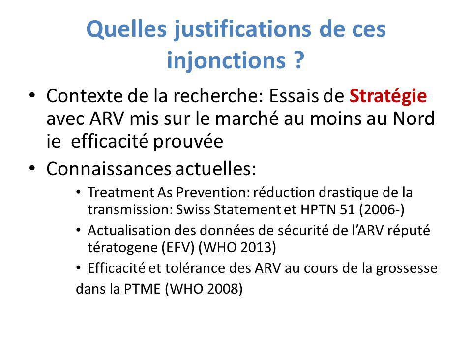 Quelles justifications de ces injonctions ? Contexte de la recherche: Essais de Stratégie avec ARV mis sur le marché au moins au Nord ie efficacité pr