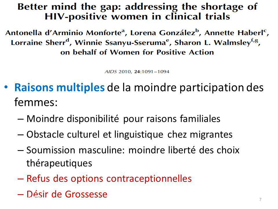 Raisons multiples de la moindre participation des femmes: – Moindre disponibilité pour raisons familiales – Obstacle culturel et linguistique chez mig