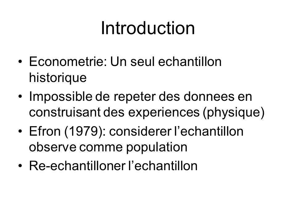 Introduction Econometrie: Un seul echantillon historique Impossible de repeter des donnees en construisant des experiences (physique) Efron (1979): considerer lechantillon observe comme population Re-echantilloner lechantillon