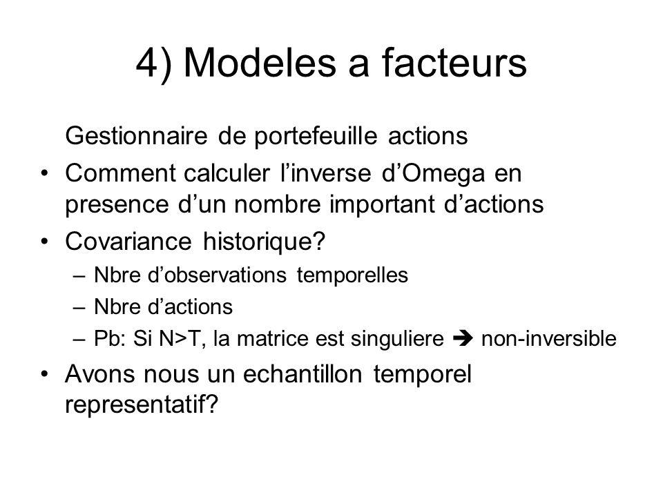4) Modeles a facteurs Gestionnaire de portefeuille actions Comment calculer linverse dOmega en presence dun nombre important dactions Covariance histo