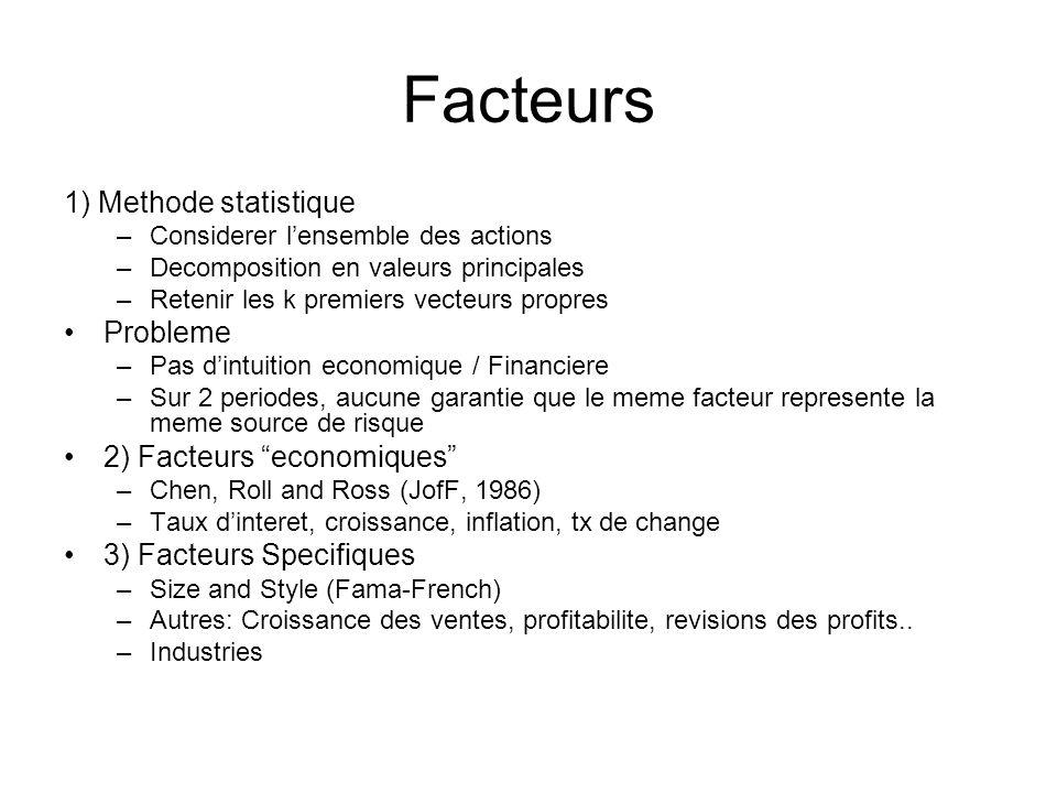 Facteurs 1) Methode statistique –Considerer lensemble des actions –Decomposition en valeurs principales –Retenir les k premiers vecteurs propres Probl