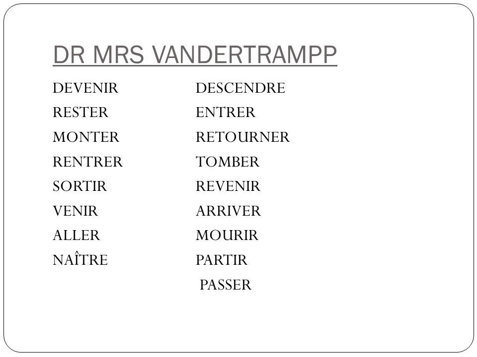 DR MRS VANDERTRAMPP DEVENIRDESCENDRE RESTERENTRER MONTERRETOURNER RENTRERTOMBER SORTIRREVENIR VENIRARRIVER ALLERMOURIR NAÎTREPARTIR PASSER