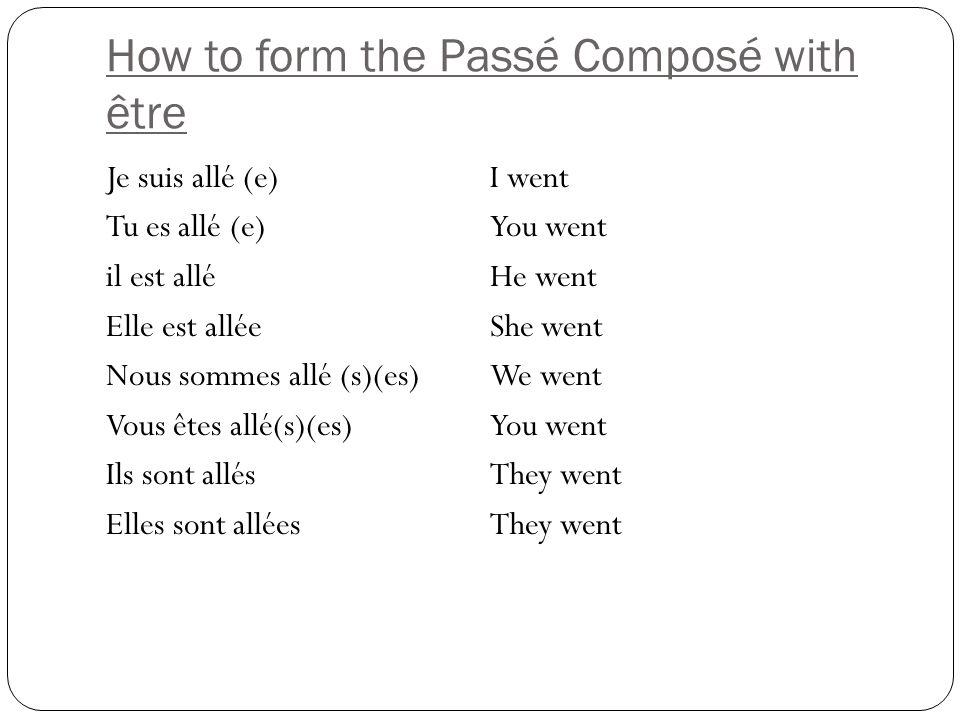 How to form the Passé Composé with être Je suis allé (e) I went Tu es allé (e)You went il est alléHe went Elle est alléeShe went Nous sommes allé (s)(es)We went Vous êtes allé(s)(es)You went Ils sont allésThey went Elles sont allées They went