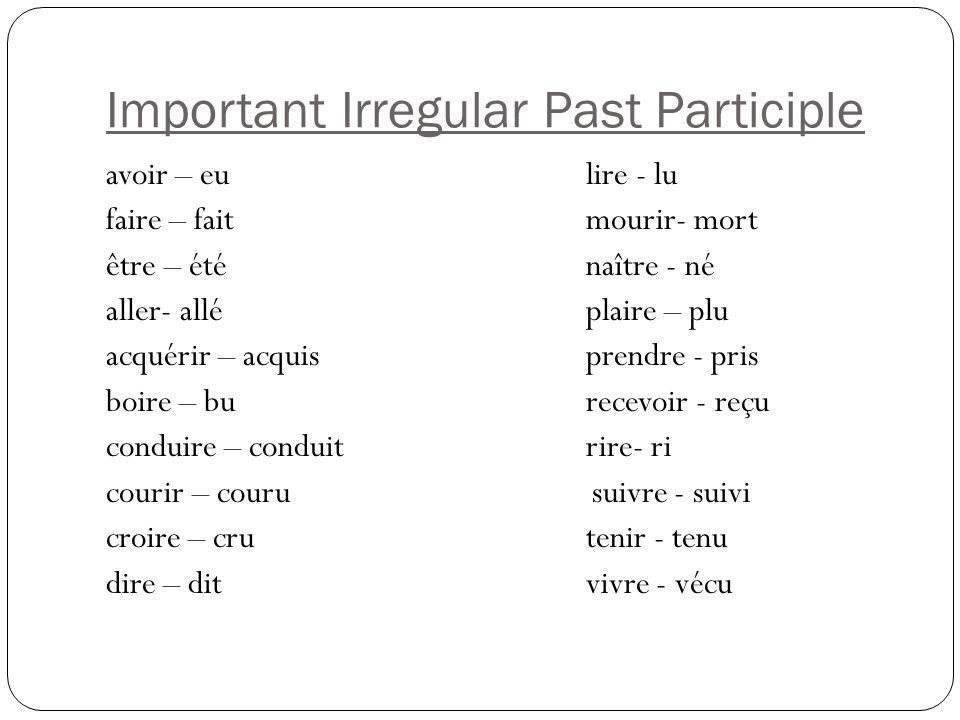 Put these verbs in the past participle regarder- regardé aider trouver porter marcher parler penser